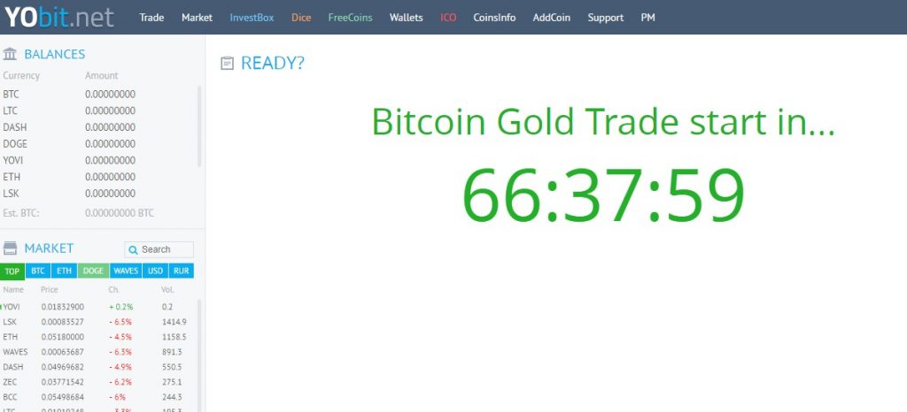 Bitcoin Gold Yobit
